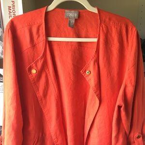 Stylish and chic orange linen/cotton jacket